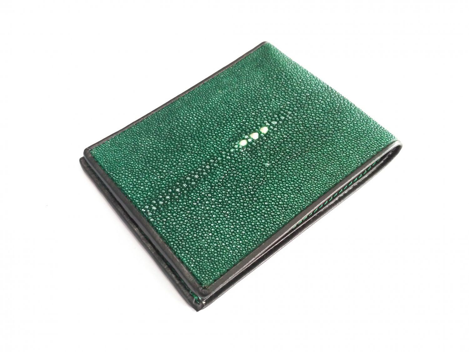 Genuine Stingray Leather Wallet Green Bifold Purse For Men