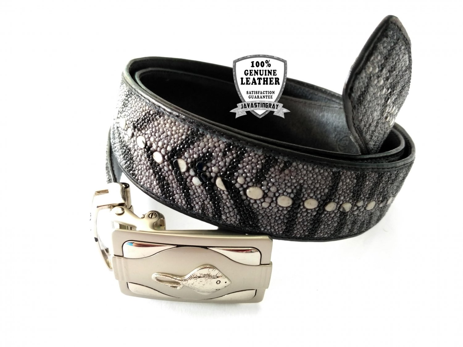 Real Leather Belt Stingray Leather Automatic Belt Buckle Black Color Tiger Stripe Pattern