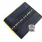 Genuine Stingray Leather Bifold Blue Wallet Full Row Stingray Backbone Men Purse