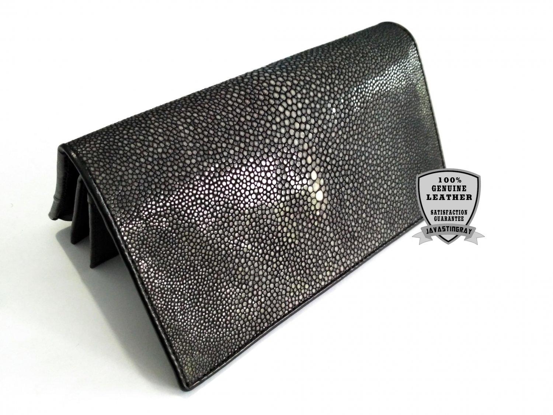 Genuine Stingray Leather Wallet Polished Black Sanded Stingray Skin Clutch Bag