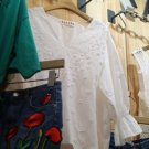 #001 Cream Crochet Top Floral Embroidery Denim Skirt Set of 2