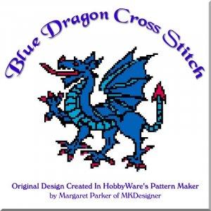Blue Dragon Cross Stitch HobbyWare pat File or Graph