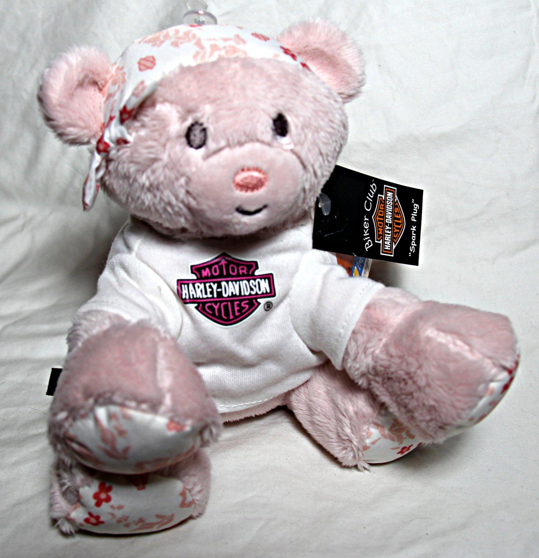 "Harley-Davidson 6"" Plush Pink Teddy Bear - ""Spark Plug"" - NEW w/Tags"