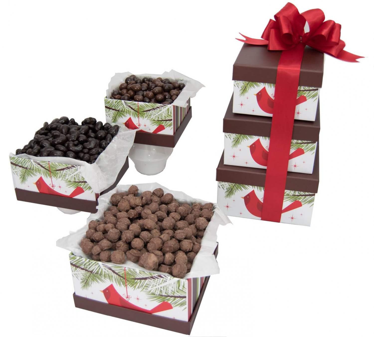 Christmas Cardinal Chocolate Nut Gift Tower
