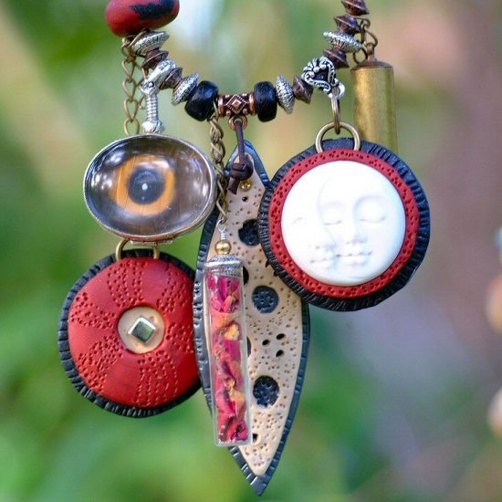Vela Liya - Polymer Clay Mixed Media Story Book Necklace