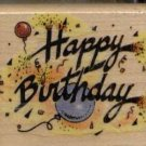 "HAPPY BIRTHDAY RUBBER STAMP--2"" X 2""--ALL NIGHT MEDIA"