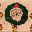"Santa Wreath Rubber Stamp--2.75"" X 2""--Westwater"