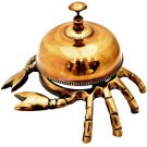 STUNNING HANDCRAFTED ORIGINAL CRAB NAUTICAL THEME RARE OFFICE TABLE BELL BRASS