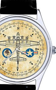 WW-II VINTAGE AVIATOR COMPASS SEPIA ART B-17 FLYING FORTRESS USAAF WRIST WATCH