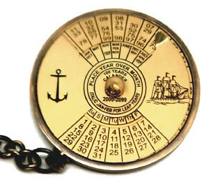 VINTAGE BRASS PERPETUAL CALENDAR KEYCHAIN KEY RING WITH WORLD TIME CALCULATOR