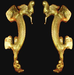 BEAUTIFUL ULTRA-HEAVY BRASS 13-INCH ENGRAVED MALABAR DRAGONS EXOTIC DOOR HANDLES