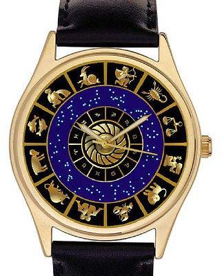 ASTROLOGY ZODIAC CIRCLE SUN SIGNS GORGEOUS MIDNIGHT BLUE & GOLD UNISEX WATCH