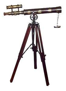 "VINTAGE AFRIKA KORPS STYLE 18-INCH DOUBLE TELESCOPE ON 24"" ROSEWOOD TRIPOD"
