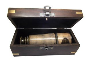 BOY SCOUT / ARMY REGIMENT 15-INCH BRASS AND LEATHER TELESCOPE IN ROSEWOOD CASE