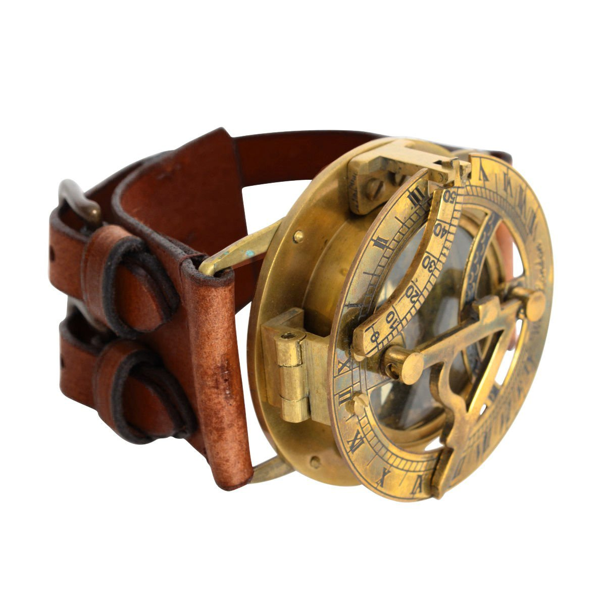 RARE STEAMPUNK RETRO SOLID ANTIQUATED BRASS LEATHER SUNDIAL COMPASS WRIST WATCH