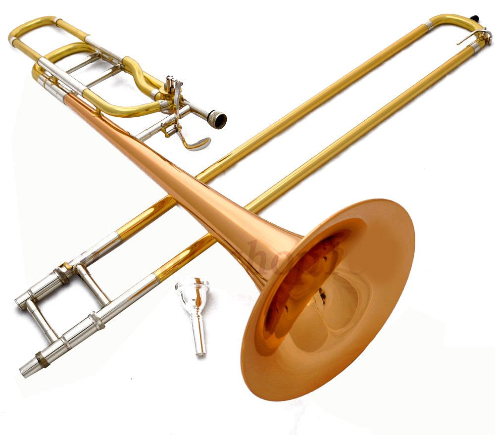NEW 2017 Bb/F POSAUNE TRIGGER TROMBONE, GOLD-LACQUER, LARGE BELL, PRO-GRADE