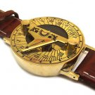 DARK TAN LEATHER STEAMPUNK RETRO SUNDIAL COMPASS WRIST WATCH, USA SHIPPING