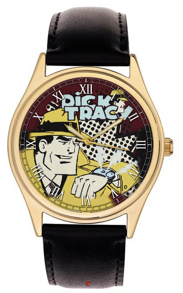 """*RARE* DICK TRACY """"I'M ON MY WAY"""" VINTAGE CHEQUERED ART COLLECTIBLE WRIST WATCH"""