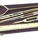 ORIGINAL ZWEISS HAMBURG NAUTICAL BRASS NAVIGATION BOX: COMPASS DIVIDERS RULER