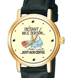 VINTAGE ZIGGY COMIC STRIP ART COLLECTIBLE COFFEE LOVER WRIST WATCH, 30 mm UNISEX
