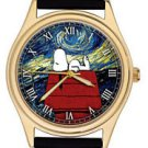 SNOOPY RED BARON v/s VAN GOGH RARE 40 mm ADULT SIZED  PEANUTS ART WRIST WATCH