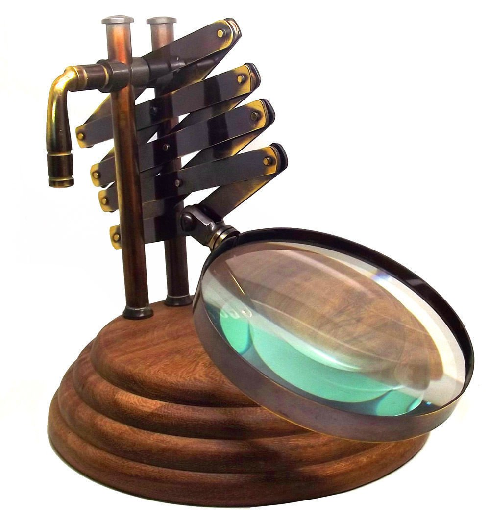 Magnifying Magnifier Glass Light Lens Loupe Jewelry Jeweler Table Glasses Brass