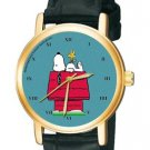 SNOOPY ON HIS KENNEL VINTAGE TEAL BLUE PEANUTS EXISTENTIAL ART UNISEX WATCH