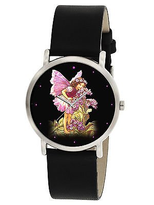 "RARE MARY CECILE BARKER FLOWER FAIRY ART ""HELIOTROPE"" COLLECTIBLE WRIST WATCH"
