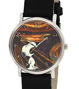 VINTAGE SNOOPY V/S EDVARD MUNCH THE SCREAM EXISTENTIAL ANGST PEANUTS WRIST WATCH