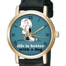 LIFE IS BETTER WITH A DOG CLASSIC TEAL PEANUTS CHARLIE BROWN SNOOPY WRIST WATCH