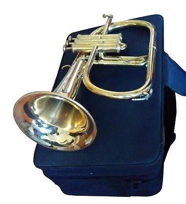 CLASSIC GOLD FINISH 3-VALVE INTERMEDIATE FLUGEL HORN FLUGELHORN w DESIGNER CASE