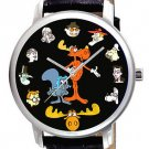 HUGE 44 mm ROCKY & BULWINKLE ORIGINAL COLLAGE COMIC ART COLLECTOR'S WRIST WATCH