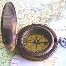 HEAVY ANTIQUATED BRASS JUMBO 2.75-INCH POCKET COMPASS w ENGRAVED SCHOONER
