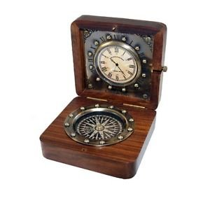 """STUNNING BOND LONDON 4"""" ANTIQUATED BRASS AND ROSEWOOD CLOCK WITH INSET COMPASS"""