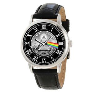 SYMBOLIC DARK SIDE OF THE MOON PRISM ART MASONIC COLLECTIBLE WRIST WATCH
