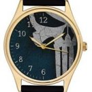PUNISHERS, COBALT BLUE ORIGINAL SKULL ART, HIGH QUALITY GOLD-WASHED BRASS WATCH