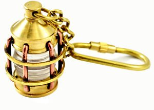 SAILOR'S NAUTICAL THEME SHIP'S HURRICANE LAMP KEYCHAIN IN BRASS & COPPER