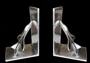 BURNISHED ALUMINUM F-16 FIGHTER AVIATION MODERNIST SCULPTURE BOOK ENDS
