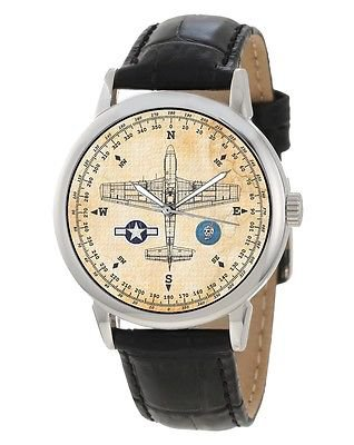 VINTAGE WW-II USAAF P-51 MUSTANG COMPASS DIAL AVIATION ART 40 mm WRIST WATCH