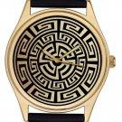 Vintage Antique Aztec Pattern Lovely Gold-Washed Brass Boyfriend / Unisex Watch