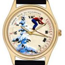SWISS SKIING ART LARGE 40 mm SKI ENTHUSIAST ST MORITZ SNOW WRIST WATCH