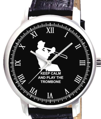 KEEP CALM & PLAY THE TROMBONE - CLASSIC TROMBONIST'S COLLECTIBLE BRASS WATCH