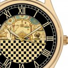 THE TEMPLE OF SOLOMON. AWESOME VINTAGE SYMBOLIC CHEQUERED ART 40 mm WRIST WATCH