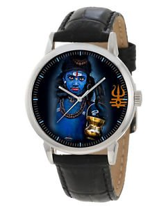 HAUNTING HINDUISM DEVOTIONAL ART BLUE NEELKANTH LORD SHIVA 40 mm WRIST WATCH