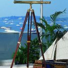 Classic Nautical Fleet Review Telescope in Brass (102 cm) + 5-ft Rosewood Tripod