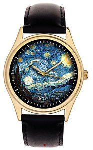 VINCENT VAN GOGH STARRY  NIGHTS VIBRANT COLORS QUALITY GOLD-WASHED BRASS WATCH