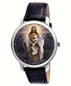 JESUS CHRIST, THE GOOD SHEPHERD, SYBOLIC CHRISTIAN ART COLLECTIBLE WRIST WATCH