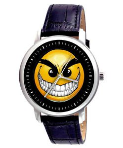 CLASSIC EVIL SMILEY SKATEBOARD SKATER COLLECTIBLE 40 mm MANGO WRIST WATCH