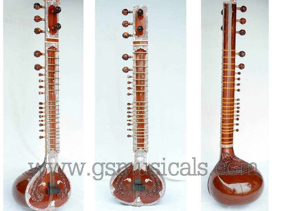 SITAR NECK CARVING WITH GIG BAG GSM038 CA