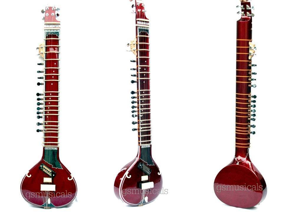 SITAR PACO RED FUSION TRAVEL WITH FIBERGLASS CASE GSM019